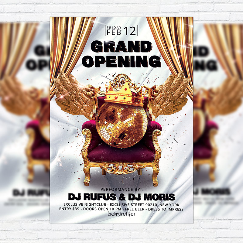 Grand Opening \u2013 Premium Flyer Template + Facebook Cover - Grand Opening Flyer