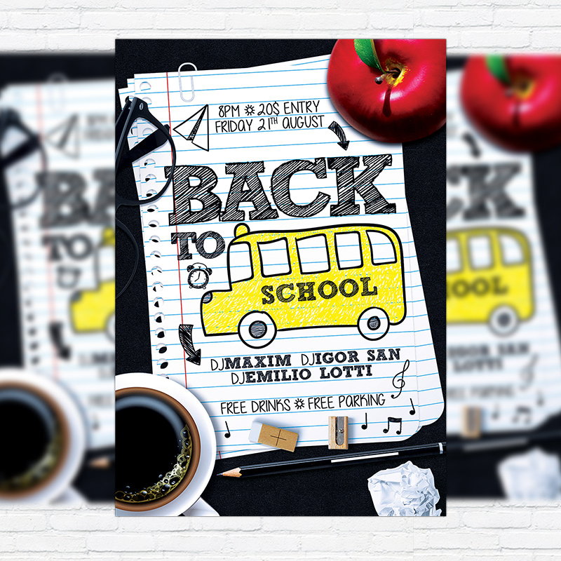 Back To School Vol4 \u2013 Premium Flyer Template + Facebook Cover - back to school flyers