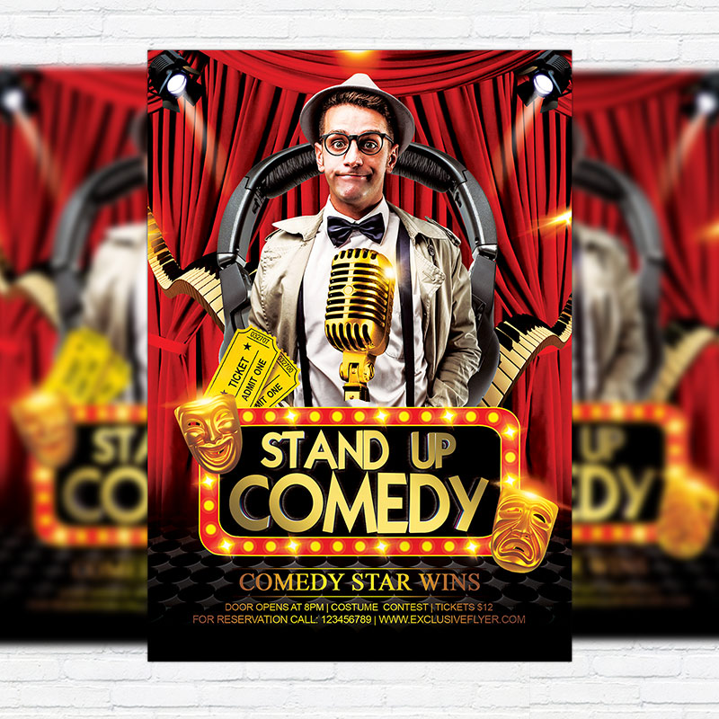 Comedy Party u2013 Premium Flyer Template + Facebook Cover - comedy show flyer template