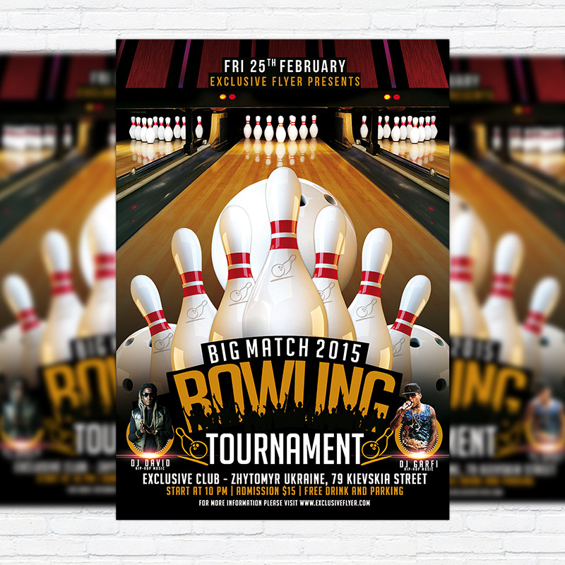 Bowling Tournament \u2013 Premium PSD Flyer Template ExclsiveFlyer