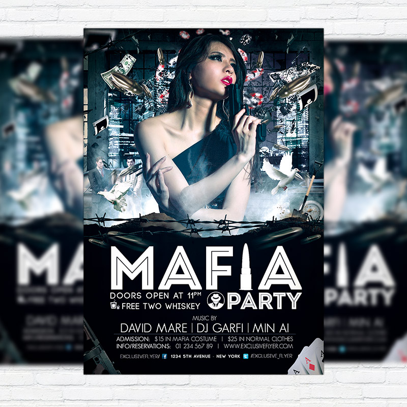 Mafia Party \u2013 Premium PSD Flyer Template ExclsiveFlyer Free and