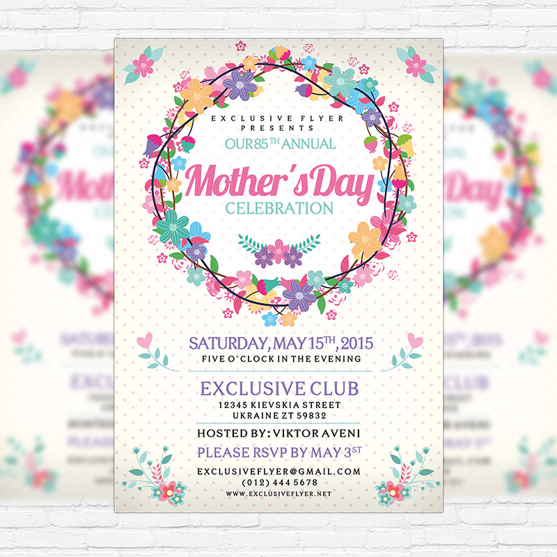 Mother\u0027s Day \u2013 Premium Flyer Template + Facebook Cover - mothers day flyer