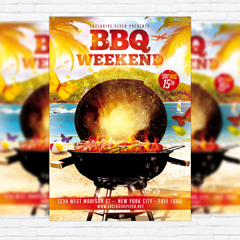 BBQ Weekend u2013 Premium Flyer Template + Facebook Cover - bbq flyer