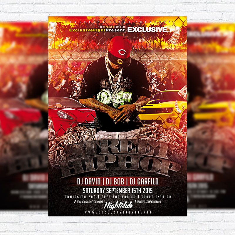 Street Hip Hop \u2013 Premium Flyer Template + Facebook Cover