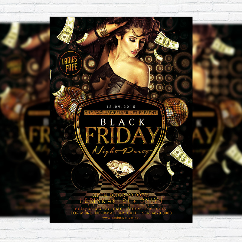 Black Friday \u2013 Premium Flyer Template + Facebook Cover - black flyer template