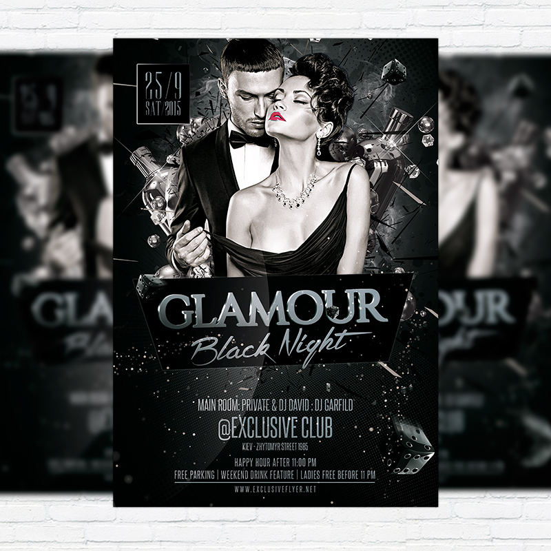 Glamour Black Night u2013 Premium Flyer Template + Facebook Cover - black and white flyer template
