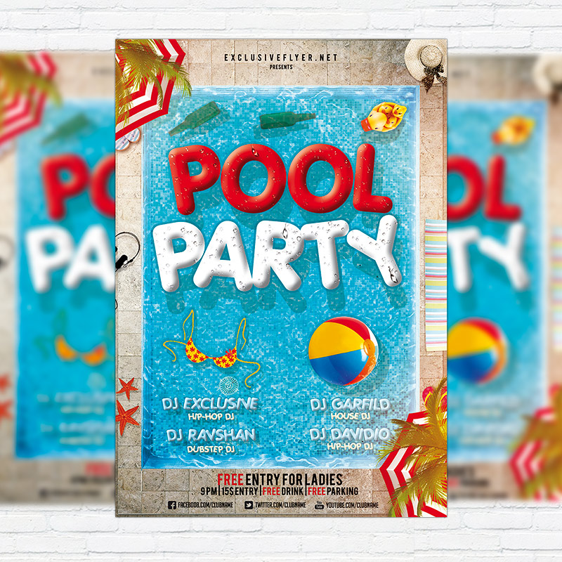 Pool Party \u2013 Premium Flyer Template + Facebook Cover ExclsiveFlyer