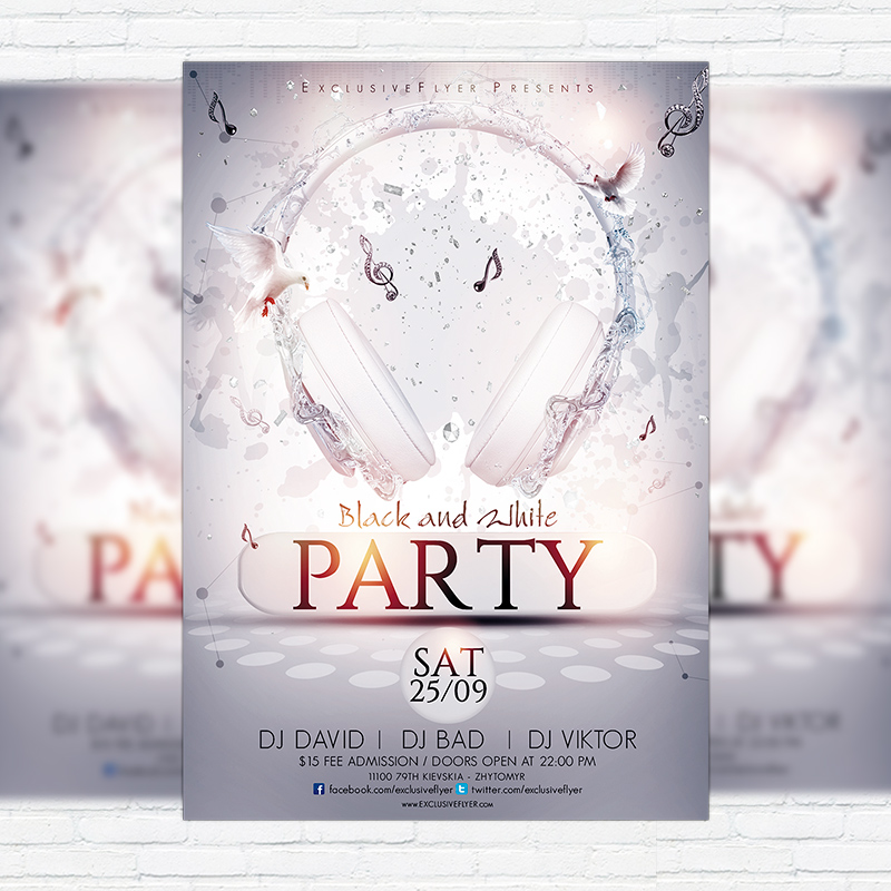 Black and White Party \u2013 Premium Flyer Template + Facebook Cover - black and white flyer template