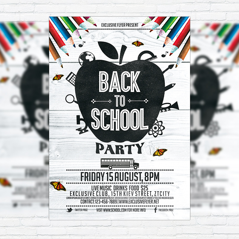 Back To School Party Vol3 \u2013 Premium Flyer Template + Facebook Cover - back to school flyers