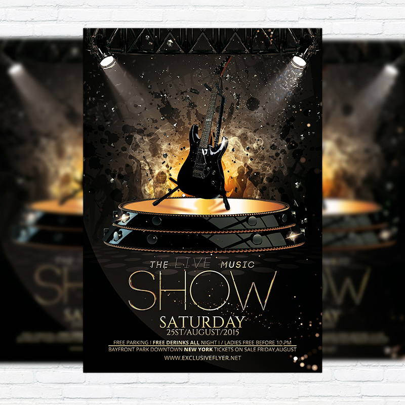 The Live Music Show \u2013 Premium Flyer Template + Facebook Cover - music flyer template