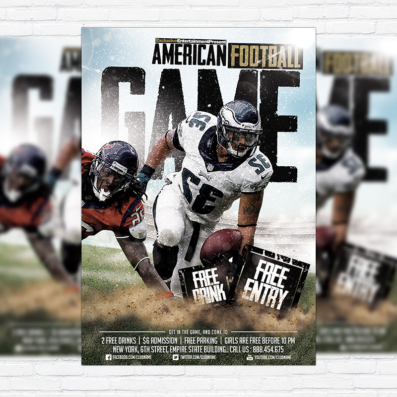 American Football Game \u2013 Premium Flyer Template + Facebook Cover