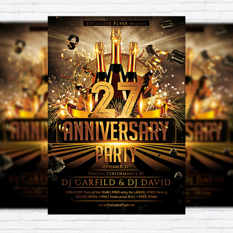 Anniversary Party \u2013 Premium Flyer Template + Facebook Cover - anniversary flyer