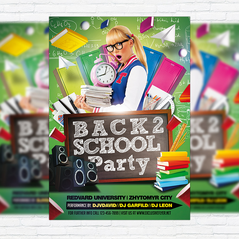 Back To School Party Vol4 \u2013 Premium Flyer Template + Facebook Cover - back to school flyers