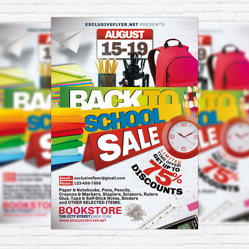Back to School Sale \u2013 Premium PSD Flyer Template ExclsiveFlyer - back to school flyers