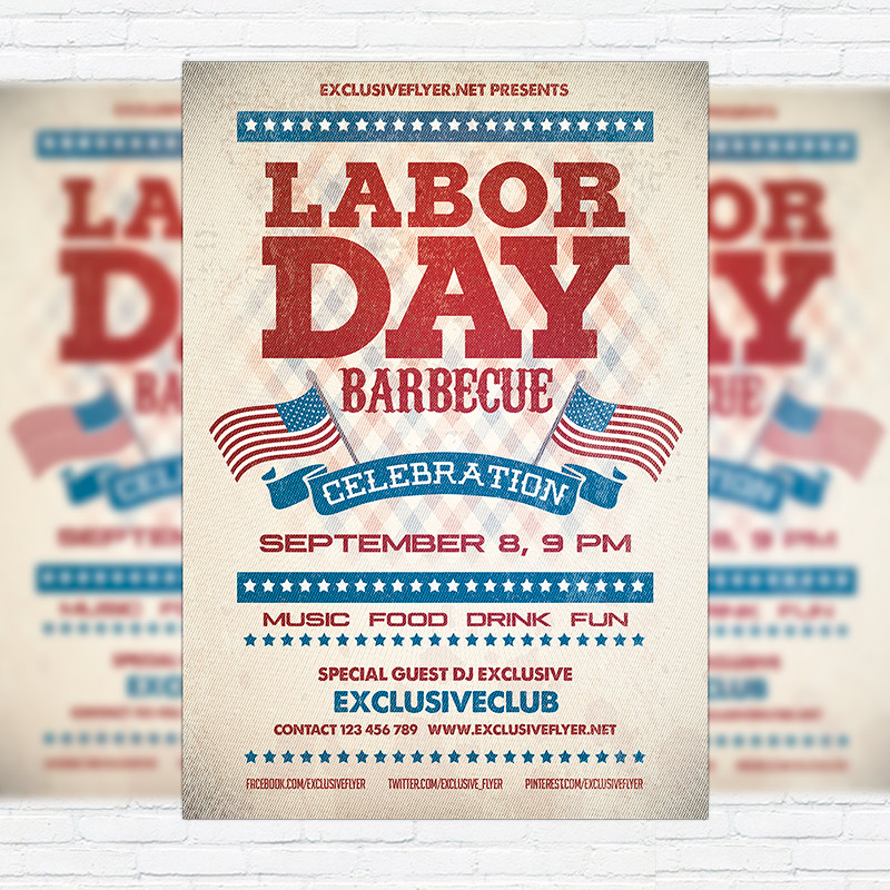 Labor Day Barbecue \u2013 Premium Flyer Template + Facebook Cover - labour day flyer template