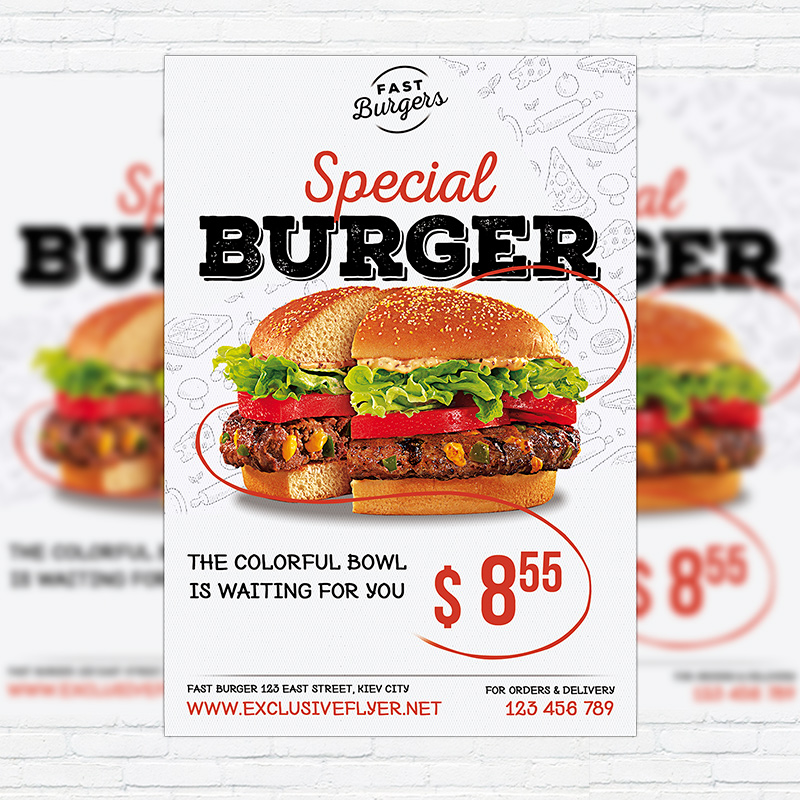 Special Burger \u2013 Premium Flyer Template + Facebook Cover - food flyer template