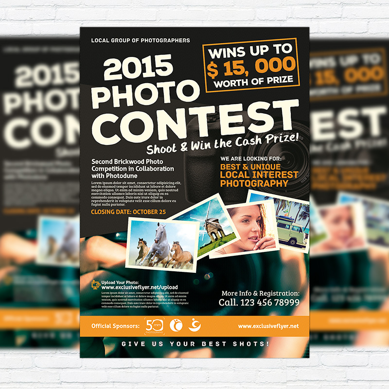 Photo Contest \u2013 Premium Flyer Template + Facebook Cover - competition flyer template