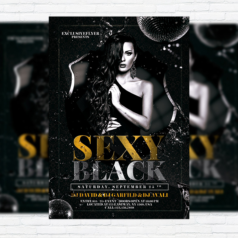Sexy Black u2013 Premium Flyer Template + Facebook Cover - black and white flyer template