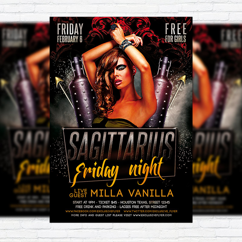 Sagittarius Friday Night \u2013 Premium PSD Flyer Template