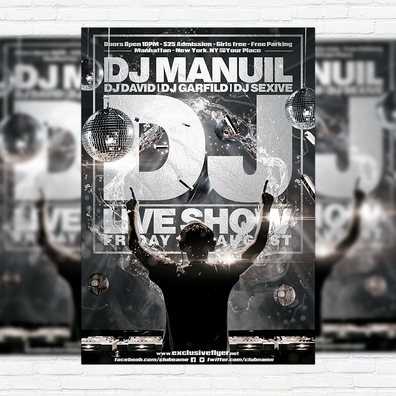 DJ Live Show u2013 Premium Flyer Template + Facebook Cover - black and white flyer template