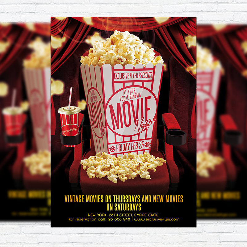 Movie Night \u2013 Premium PSD Flyer Template ExclsiveFlyer Free and