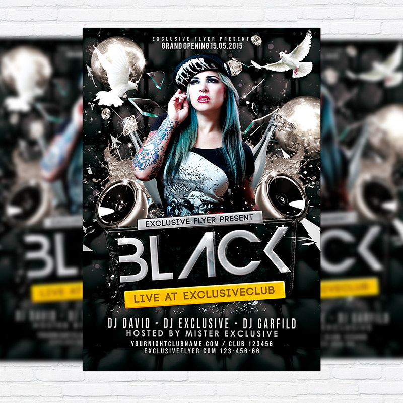 Black Party \u2013 Premium PSD Flyer Template ExclsiveFlyer Free and