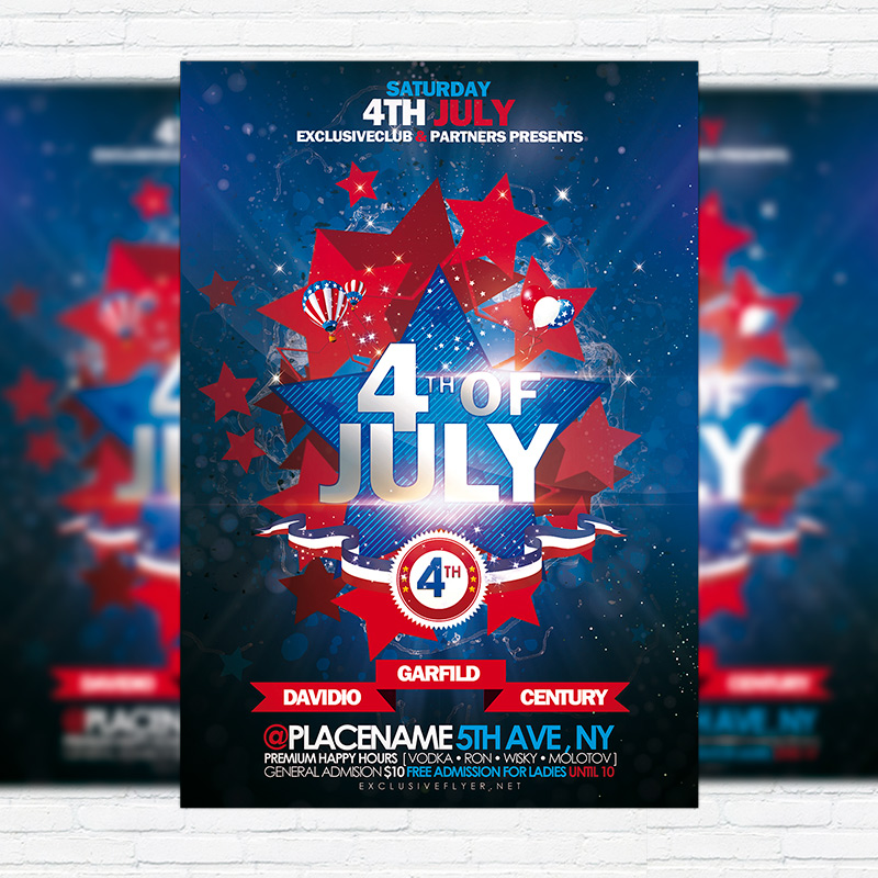 4th of July \u2013 Premium Flyer Template + Facebook Cover - 4th of july template