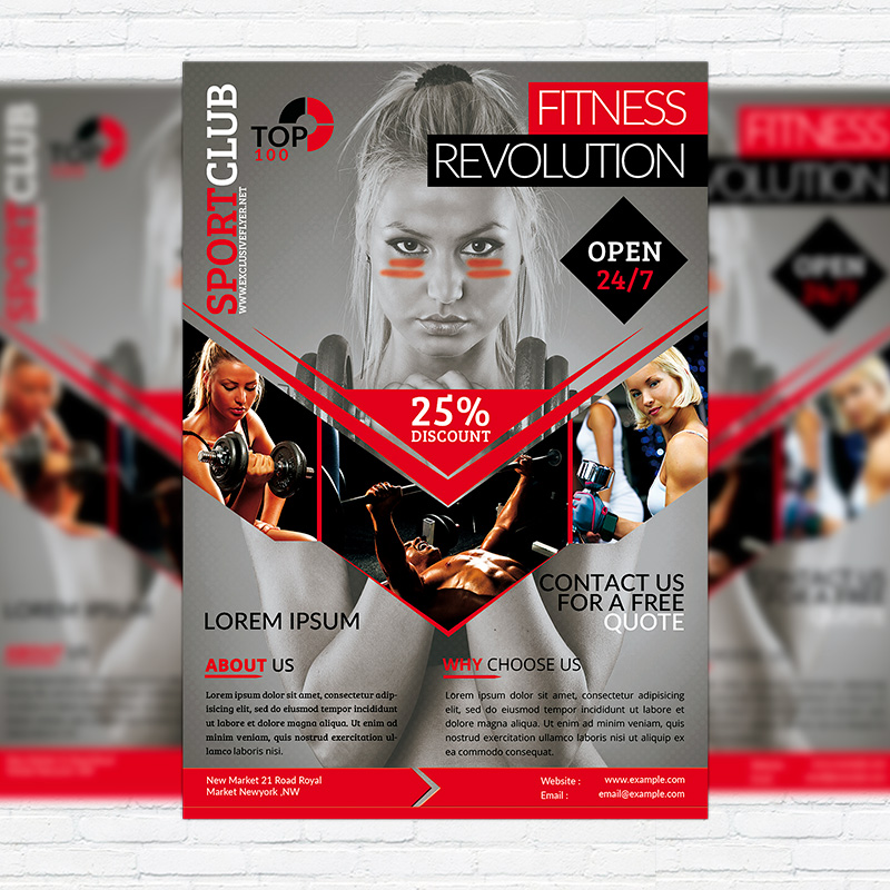 Fitness Revolution \u2013 Premium Flyer Template + Facebook Cover - fitness brochure template