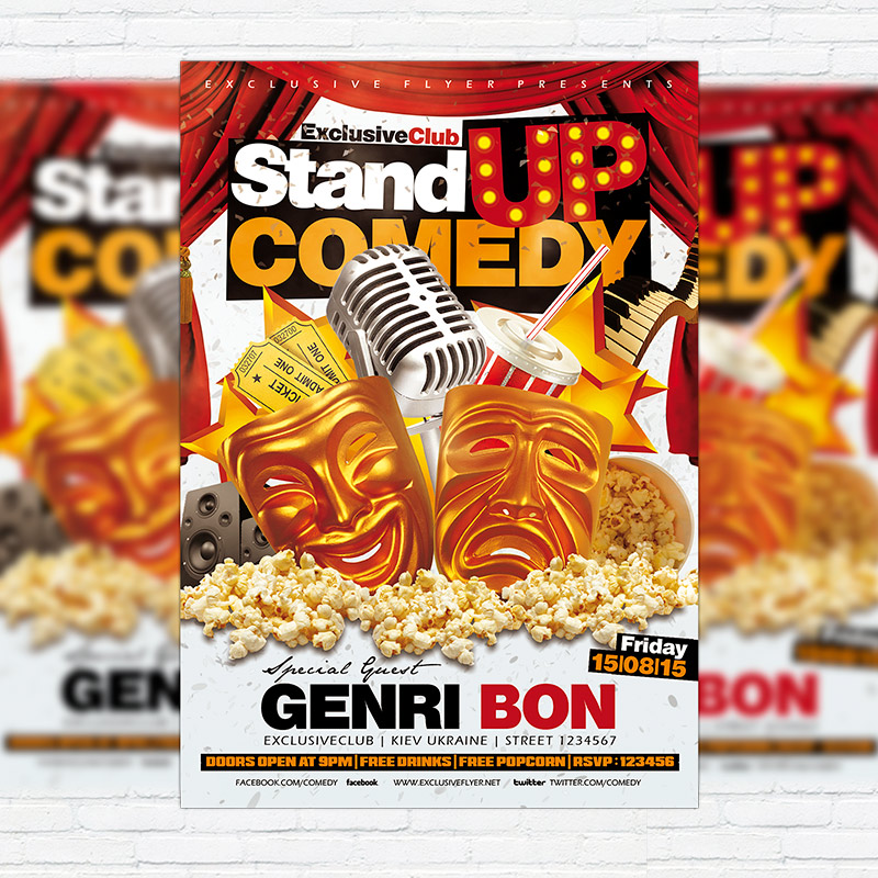 Stand Up Comedy \u2013 Premium Flyer Template + Facebook Cover - comedy show flyer template