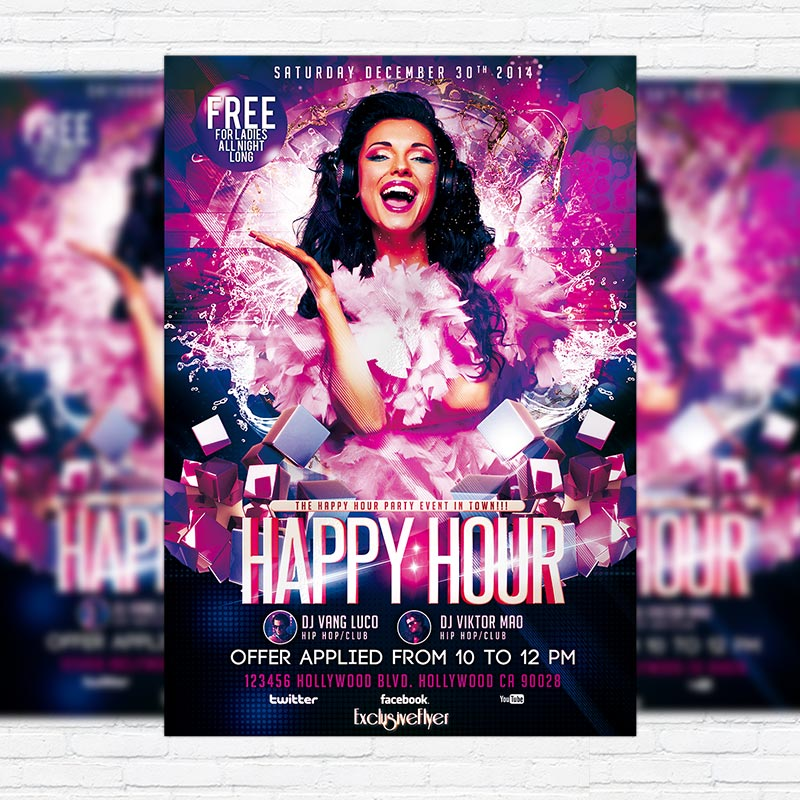Happy Hour Party \u2013 Premium PSD Flyer Template ExclsiveFlyer Free