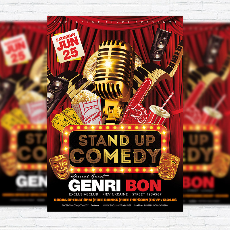 Stand Up Comedy Vol2 u2013 Premium Flyer Template + Facebook Cover - comedy show flyer template