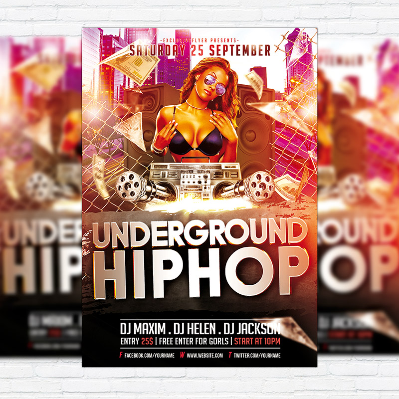 Underground Hip Hop \u2013 Premium Flyer Template + Facebook Cover
