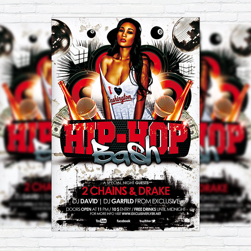 Hip Hop Bash \u2013 Premium Flyer Template + Facebook Cover