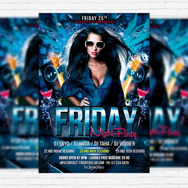 Friday Night Party \u2013 Premium PSD Flyer Template ExclsiveFlyer
