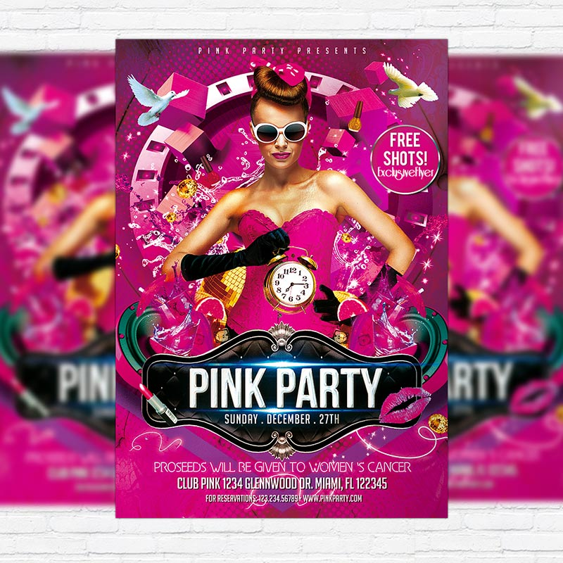 Ladies Pink Party Night \u2013 Premium PSD Flyer Template ExclsiveFlyer