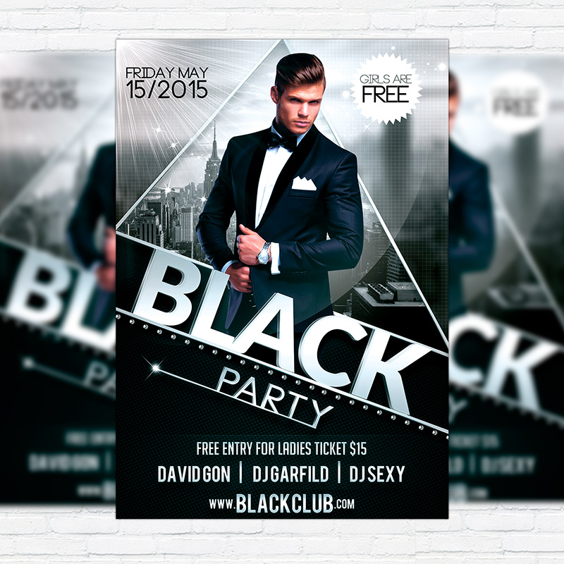 Black Party \u2013 Premium Flyer Template + Facebook Cover - black flyer template