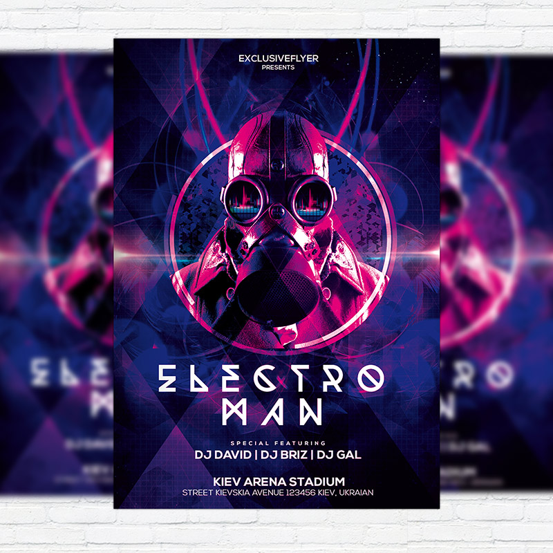 Electro Man Party \u2013 Premium PSD Flyer Template + Facebook Cover