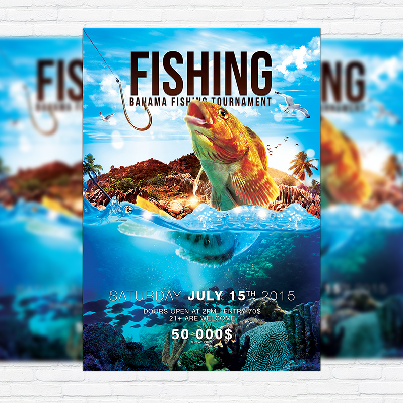 Fishing \u2013 Premium PSD Flyer Template + Facebook Cover