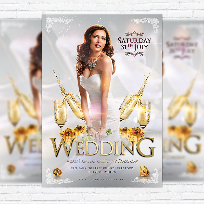 Wedding \u2013 Premium Flyer Template + Facebook Cover ExclsiveFlyer - wedding flyer