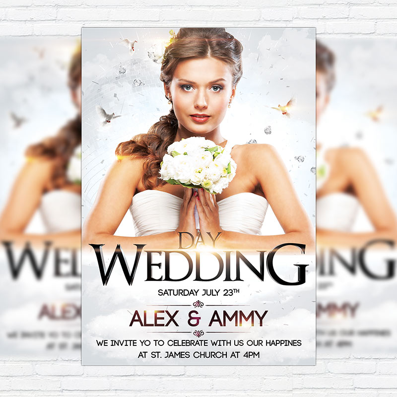 Wedding Day \u2013 Premium Flyer Template + Facebook Cover - wedding flyer