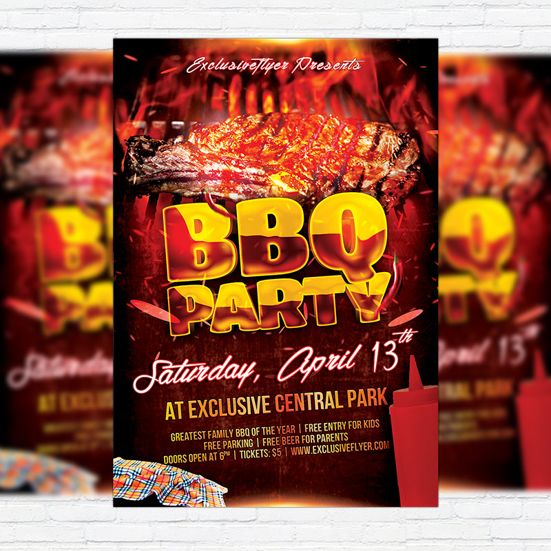 BBQ Party \u2013 Premium Flyer Template + Facebook Cover ExclsiveFlyer