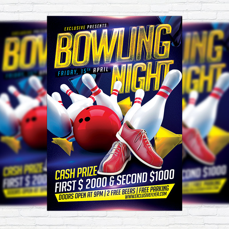 Bowling Night \u2013 Premium Flyer Template + Facebook Cover