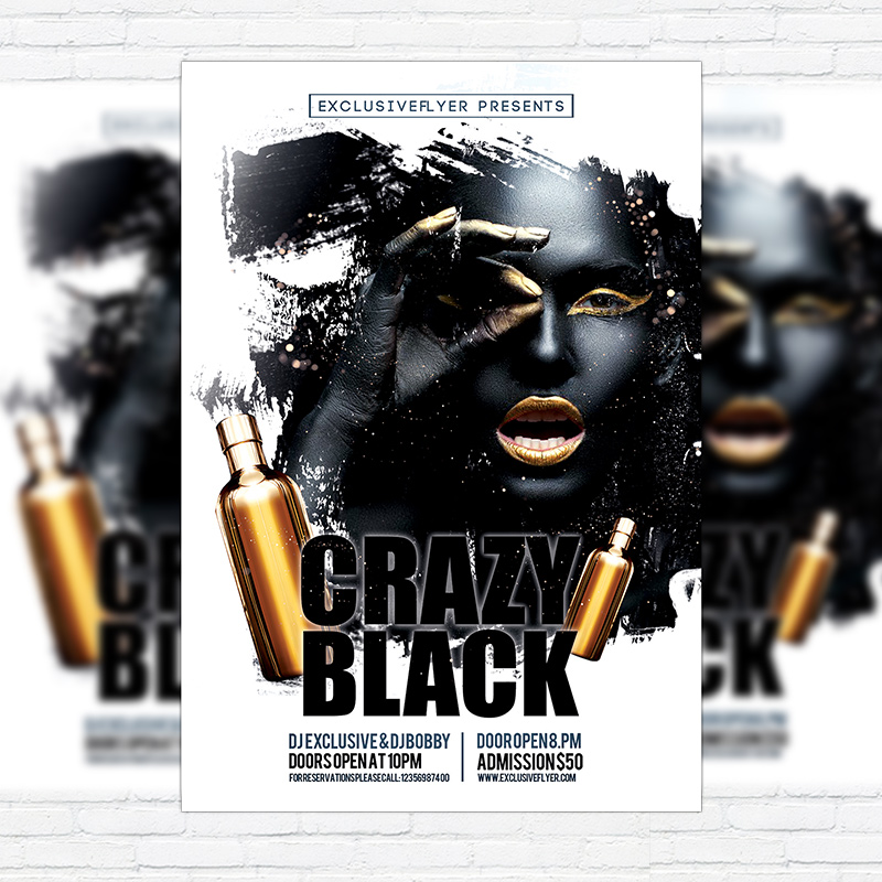 Crazy Black \u2013 Premium Flyer Template + Facebook Cover - black flyer template