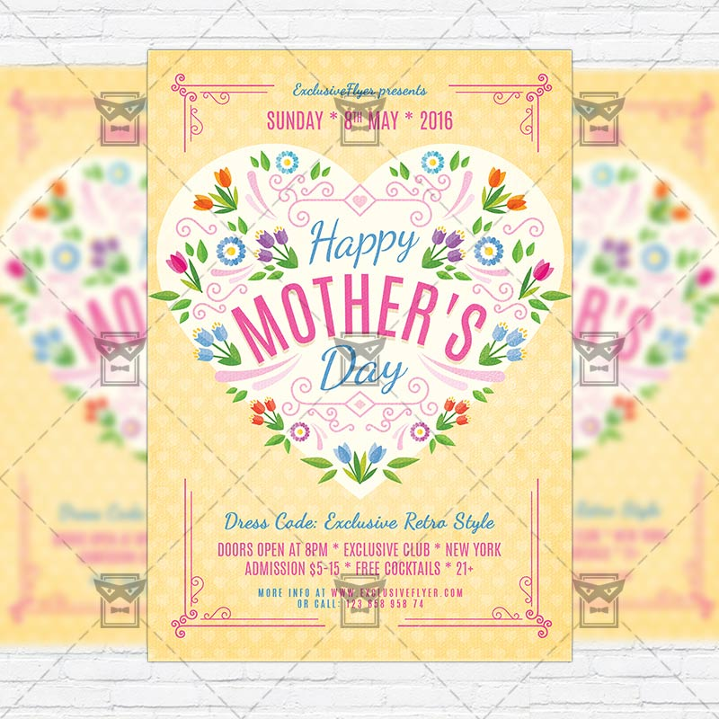 Happy Mothers Day \u2013 Premium Flyer Template + Facebook Cover - mothers day flyer