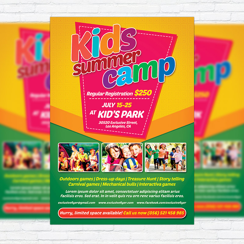 Kids Summer Camp \u2013 Premium Flyer Template + Facebook Cover - Summer Camp Flyer Template