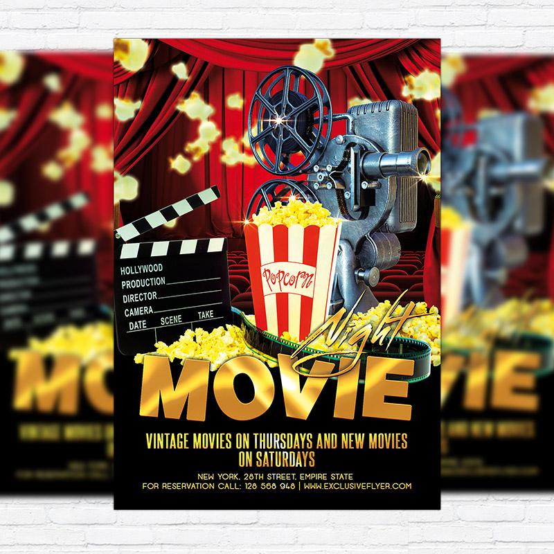 Movie Night \u2013 Premium Flyer Template + Facebook Cover