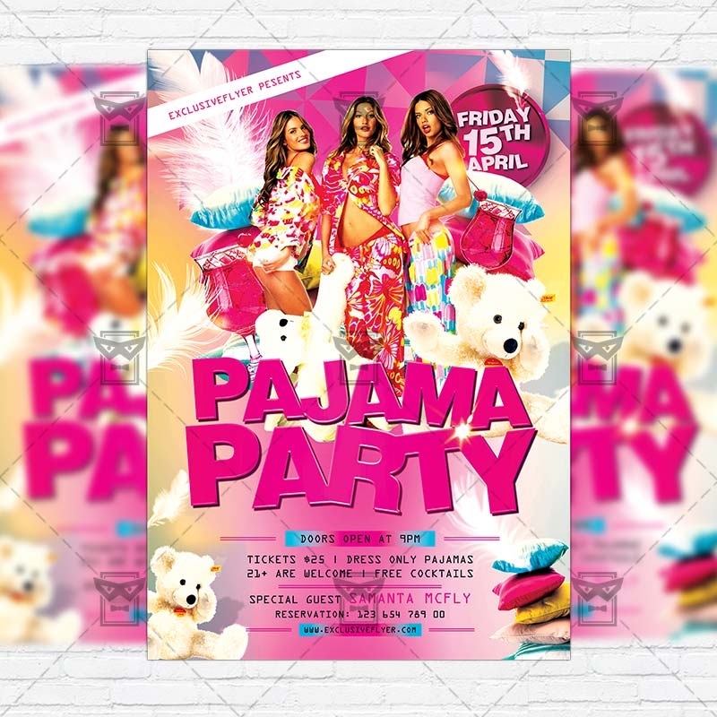 Pajama Party \u2013 Premium Flyer Template + Facebook Cover - party flyer