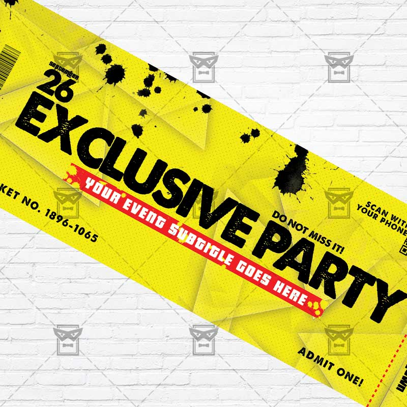 Exclusive Party \u2013 Premium PSD Ticket Template ExclsiveFlyer Free - party ticket template free