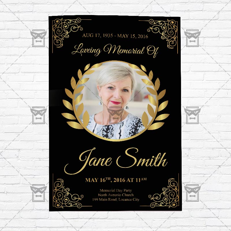 Funeral Program Vol3 \u2013 Premium Bi Fold Brochure Template - funeral poster templates