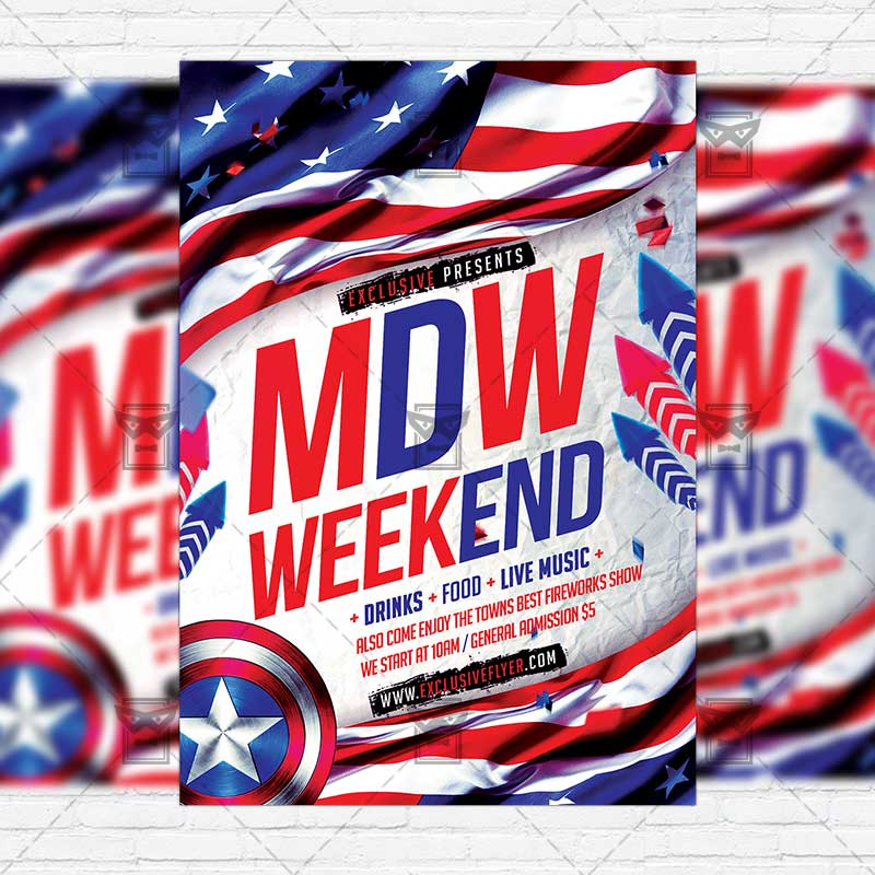 Memorial Day Weekend \u2013 Premium Flyer Template + Instagram Size Flyer